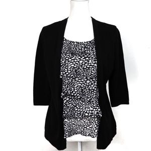 T621 Notations PM Black Cardigan Attached Tank